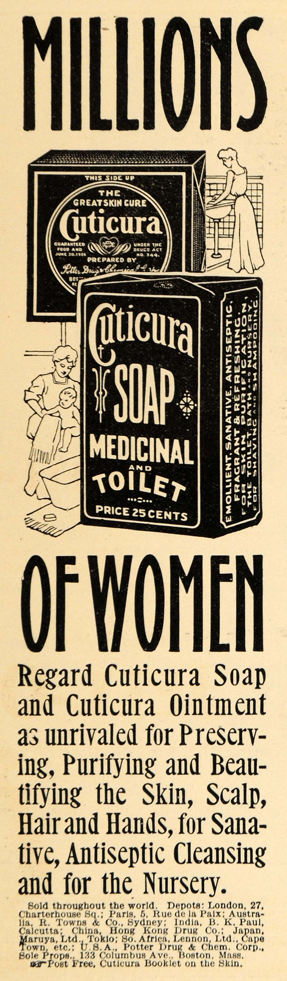 1909 Ad Cuticure Soap Medicinal Toilet Antiseptic Box - ORIGINAL ADVERTISING HM1