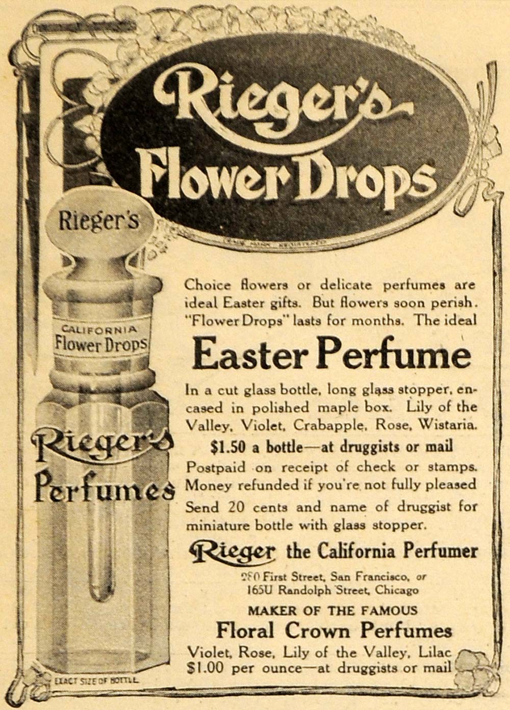 1909 Ad Riegers Flower Drop Easter Perfume Floral Crown - ORIGINAL HM1