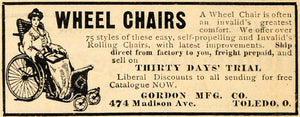 1911 Ad Wheel Chairs Invalids Gordon Manufacturing Co. - ORIGINAL HM1