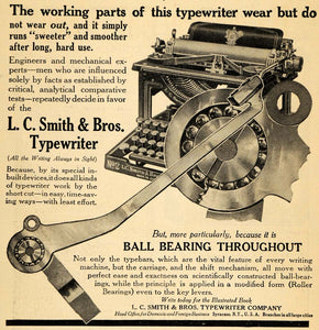 1911 Ad L C Smith & Brothers Typewriter Ball Bearing - ORIGINAL ADVERTISING HM1