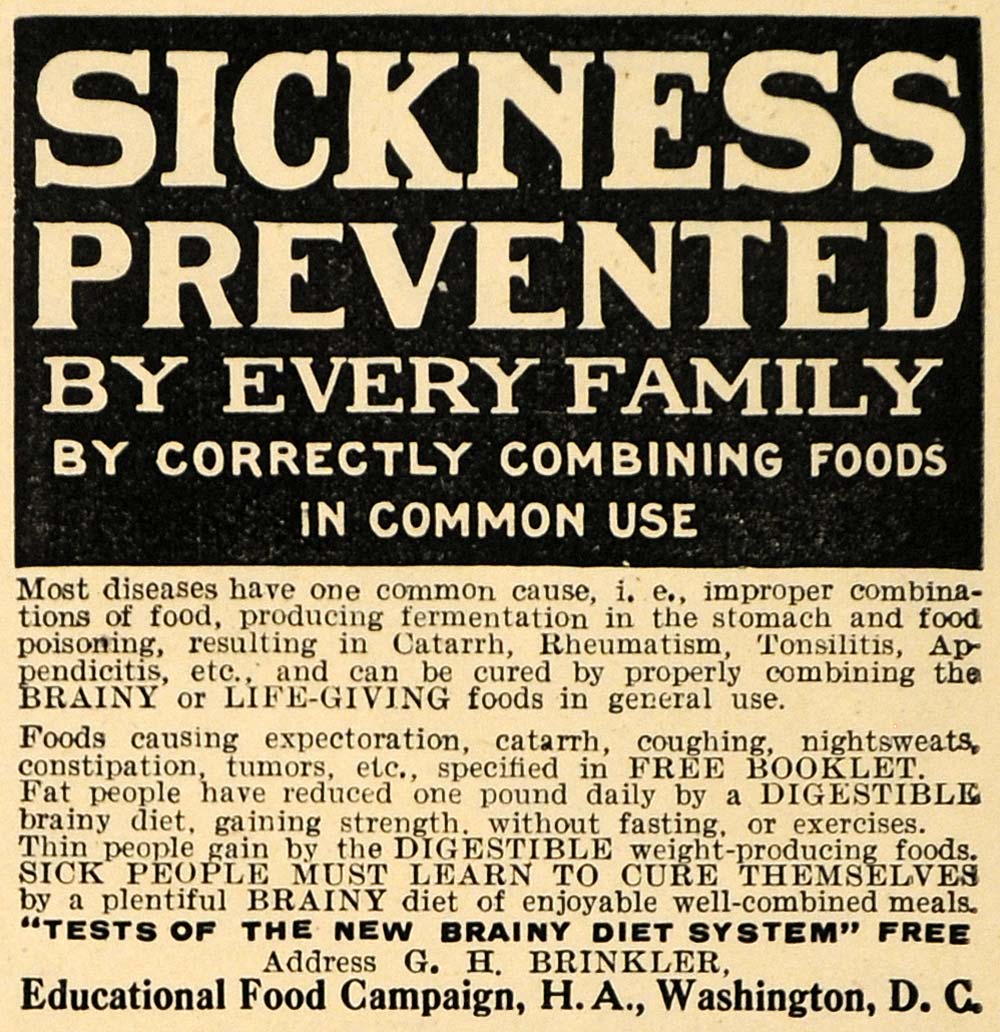 1910 Ad Educational Food Campaign Diseases Sickness - ORIGINAL ADVERTISING HM1