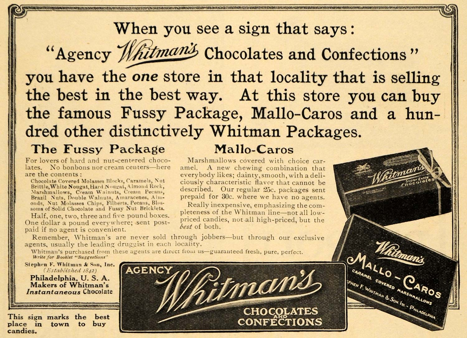 1910 Ad Mallo-Caros Fussy Package Whitmans Chocolates - ORIGINAL ADVERTISING HM1