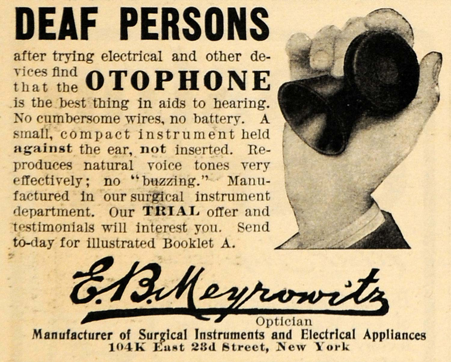 1910 Ad E. B. Meyrowitz Otophone Deaf Persons New York - ORIGINAL HM1