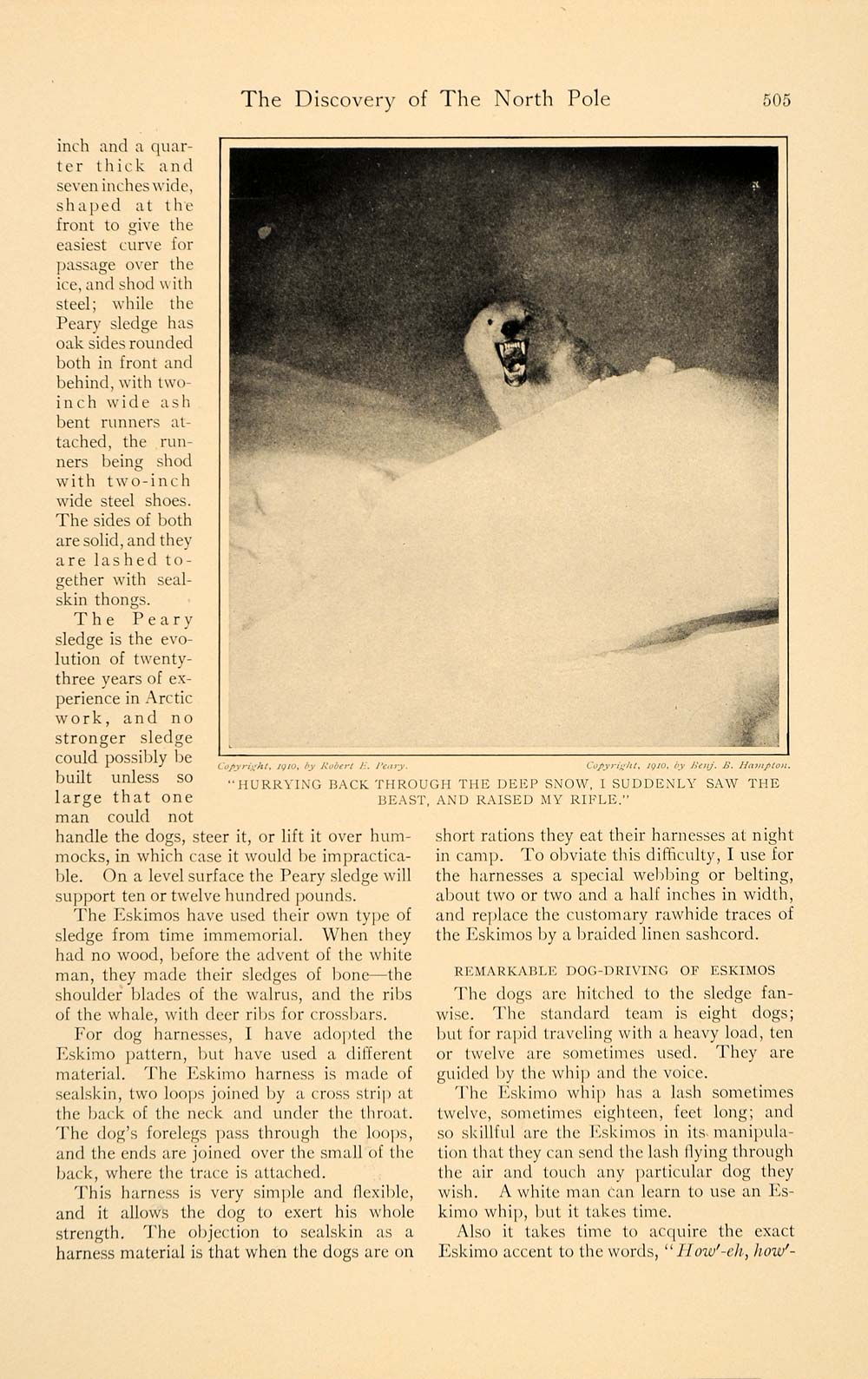 1910 Article Hunting North Pole Robert Peary Roosevelt - ORIGINAL HM1