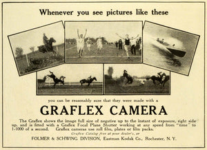 1910 Ad Graflex Camera Folmer Schwing Eastman Kodak Horseback Riding Stunts HM2
