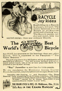1910 Ad Racycle Antique Bicycle Miami Cycle Bike Musselman Armless Coaster HM2