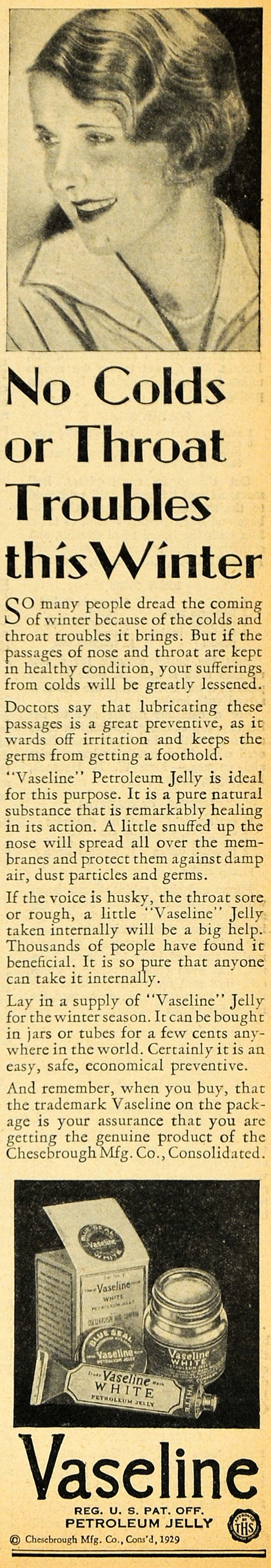 1929 Ad Vaseline Petroleum Jelly Cold Throat Sickness - ORIGINAL HOH1