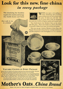 1929 Ad Quick Mother's Oats Fine China Coupon Promotion - ORIGINAL HOH1