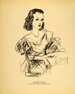 1938 Margaret Lindsay Actress Henry Major Lithograph - ORIGINAL HOL1