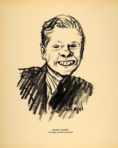 1938 Mickey Rooney Andy Hardy Henry Major Lithograph - ORIGINAL HOL1