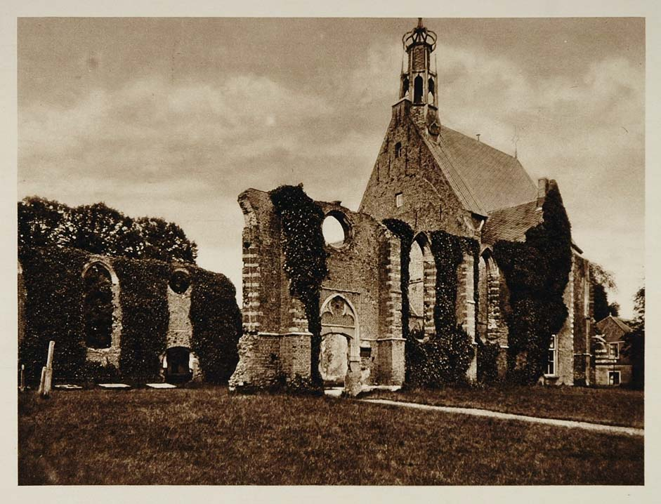 c1930 Church Kerk Ruins Bergen Holland Photogravure - ORIGINAL PHOTOGRAVURE
