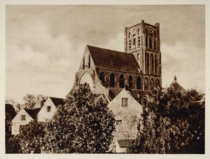 c1930 Church Brielle Den Briel Holland Photogravure - ORIGINAL PHOTOGRAVURE