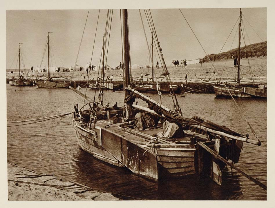c1930 Boats Rhine River Katwijk Holland Photogravure - ORIGINAL PHOTOGRAVURE