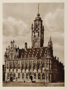 c1930 Stadhuis Rathaus Middelburg Holland Photogravure - ORIGINAL PHOTOGRAVURE