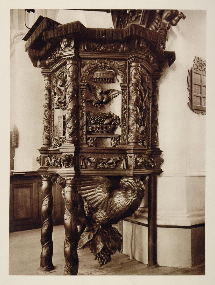 c1930 Pulpit St. Martinikerk Bolsward Boalsert Holland - ORIGINAL PHOTOGRAVURE