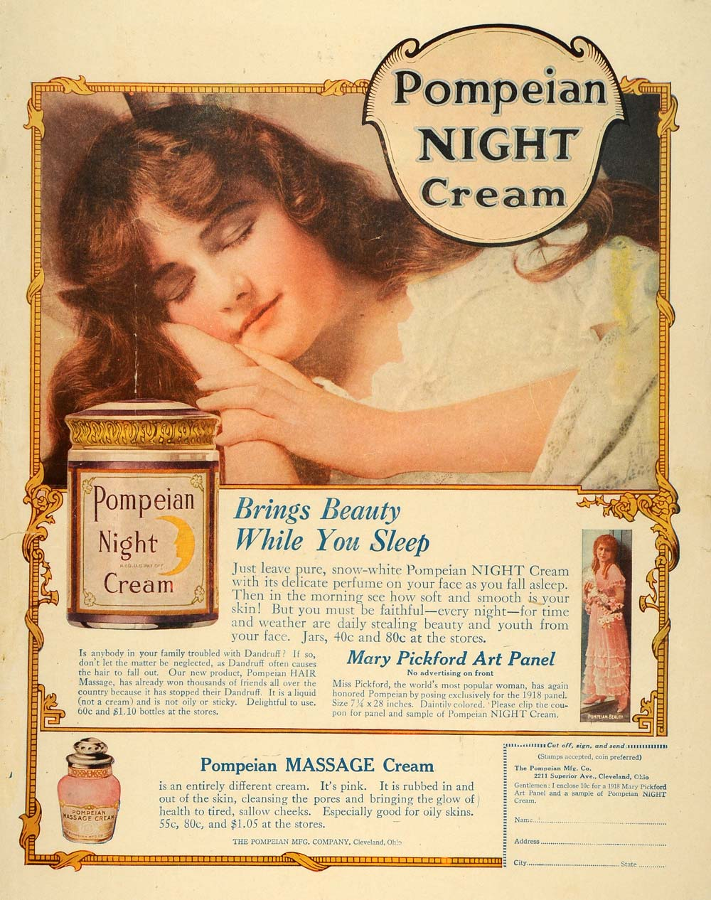 1918 Ad Pompeian Night Cream Mary Pickford Art Panel - ORIGINAL ADVERTISING HST1