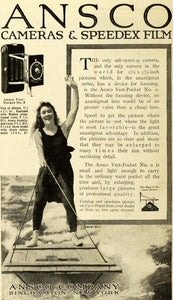 1916 Ad Ansco Camera Speedex Film Water Skiing Vintage - ORIGINAL HST1