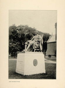 1900 Print John Harvard Statue Daniel Chester French - ORIGINAL HISTORIC HU1