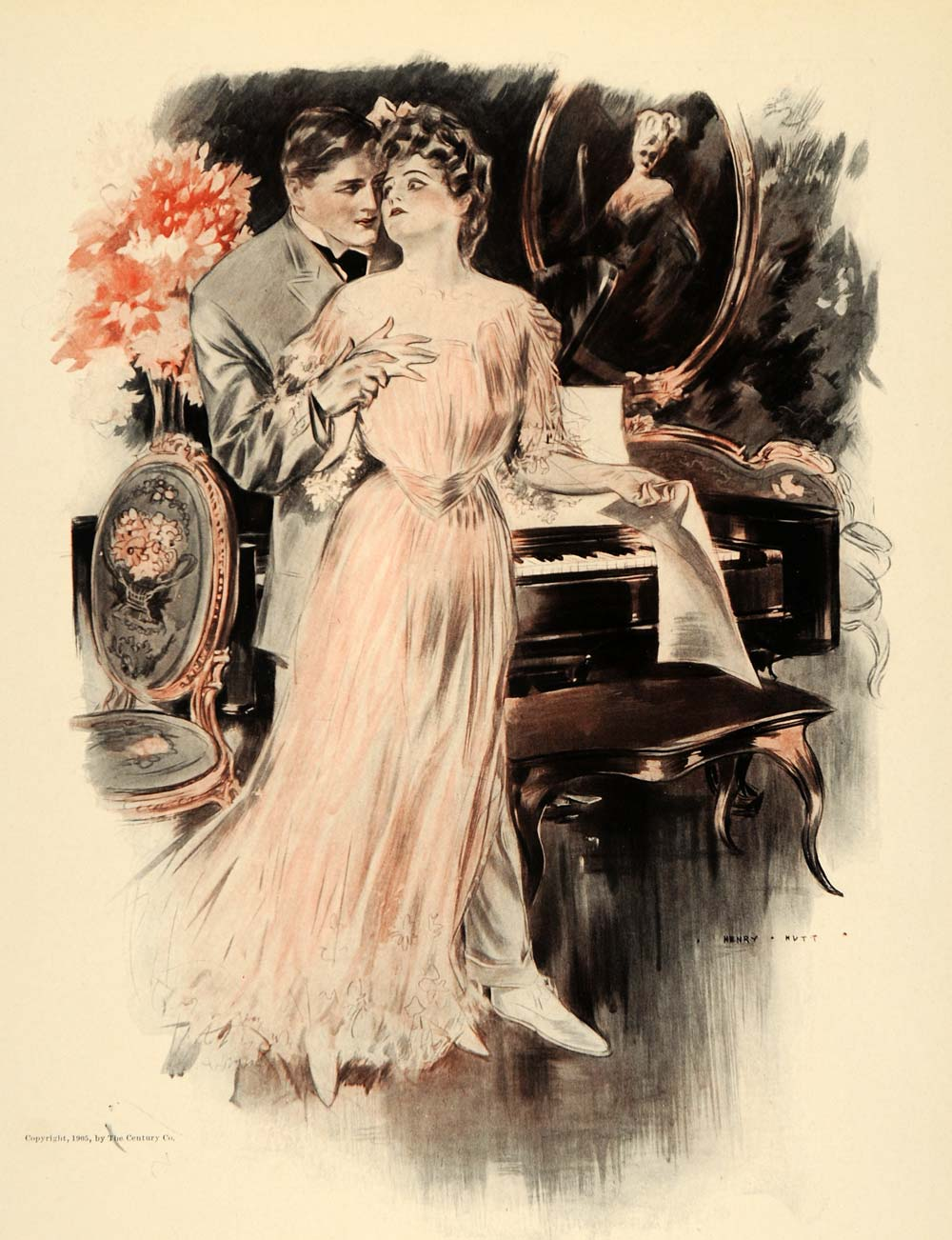 1908 Henry Hutt Victorian Woman Man Lovers Piano Print - ORIGINAL HUTT1