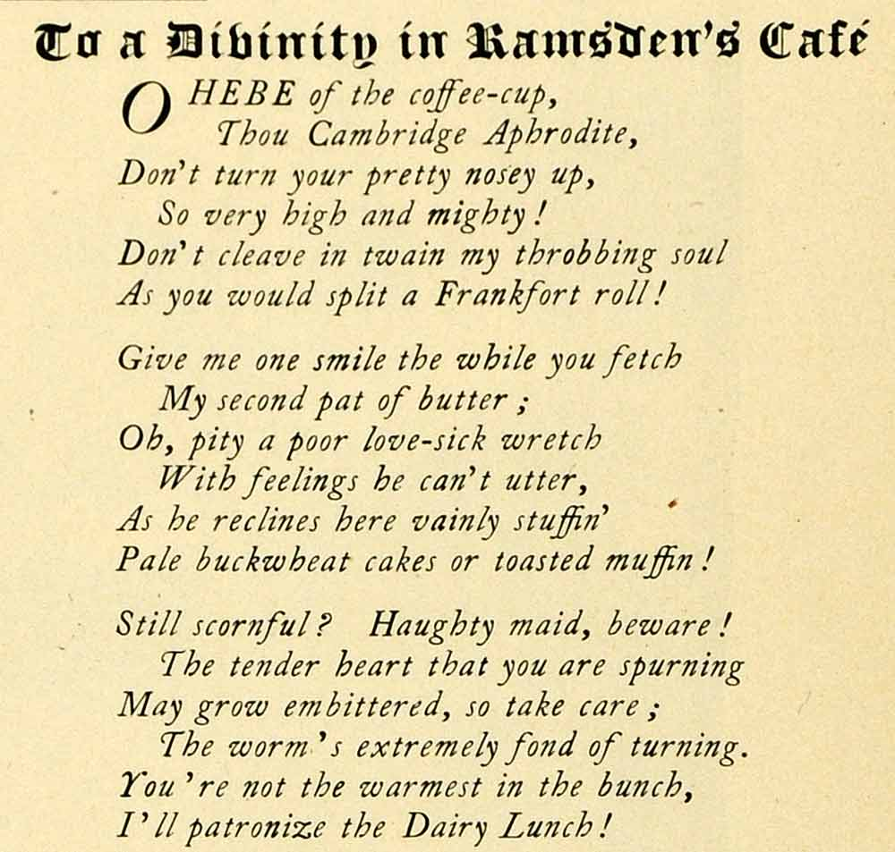 1901 Print Harvard Lampoon Poem Waitress Romance Humor Ramsdens Cafe HVD1