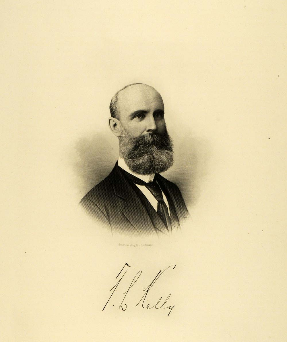 1895 Steel Engraving Milwaukee Wisconsin Famous Figure Thomas L. Kelly HWC1