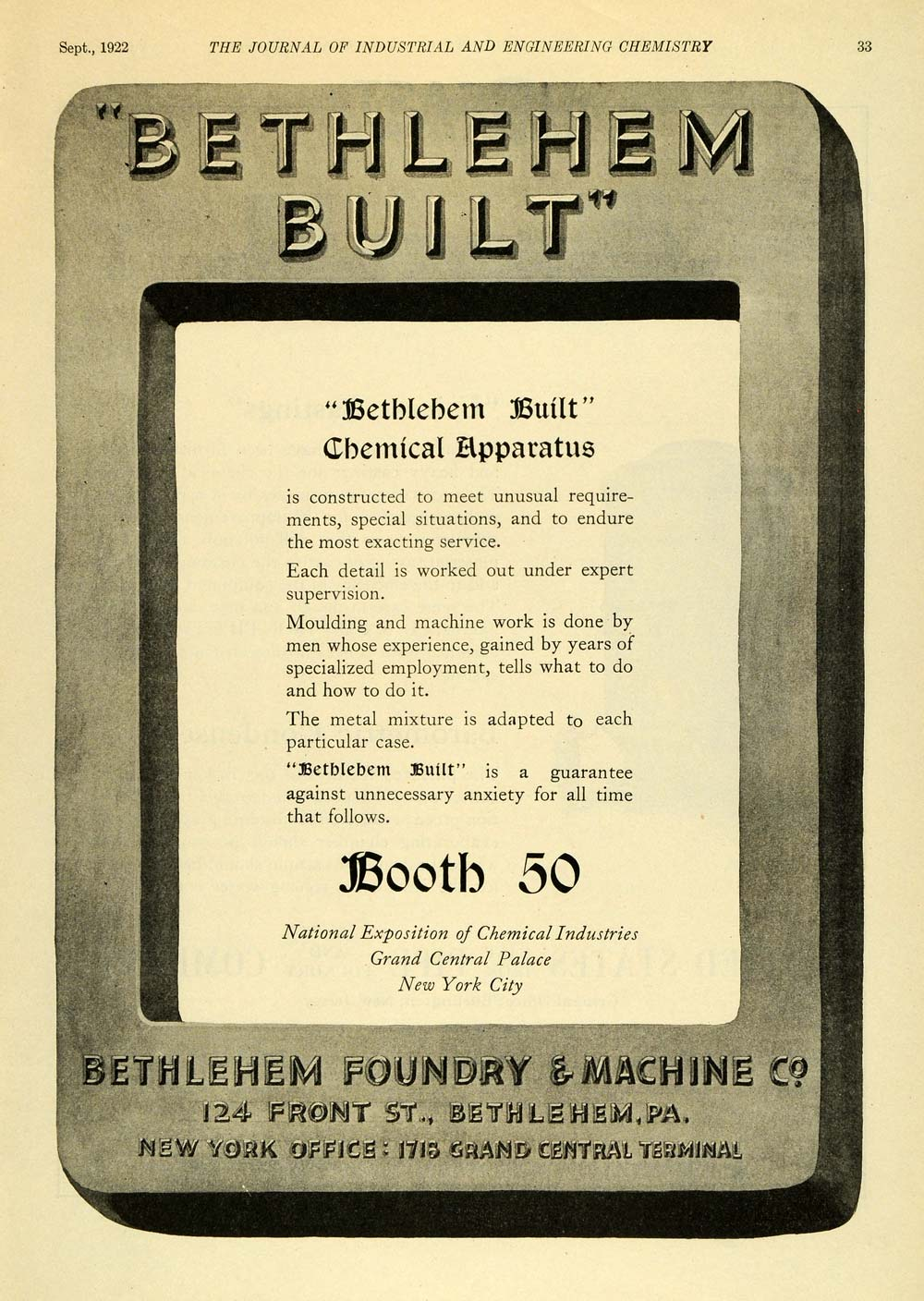 1922 Ad Bethlehem Chemical Apparatus Machinery Service Industries IEC1