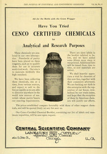 1922 Ad Cenco Certified Chemicals Central Scientific Sodium Oxalate Bottle IEC1