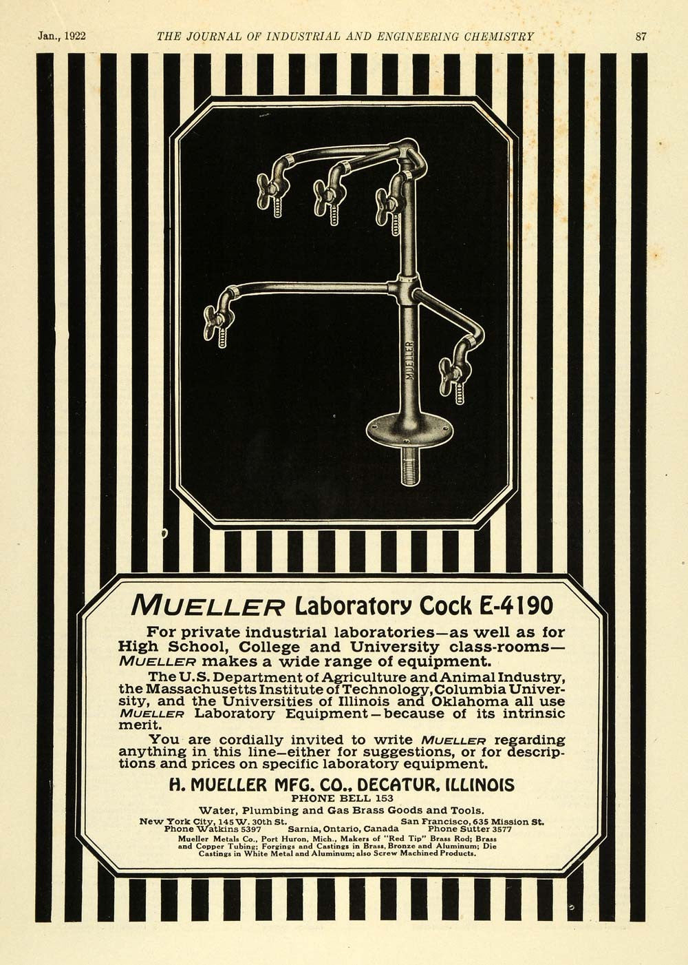 1922 Ad Mueller Laboratory Cock E4190 Valve Plumbing Plumber Columbia IEC1 - Period Paper
