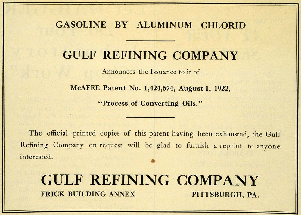 1922 Ad Aluminum Chlorid Gulf Refining Converting Oil Chemistry Fuel IEC1