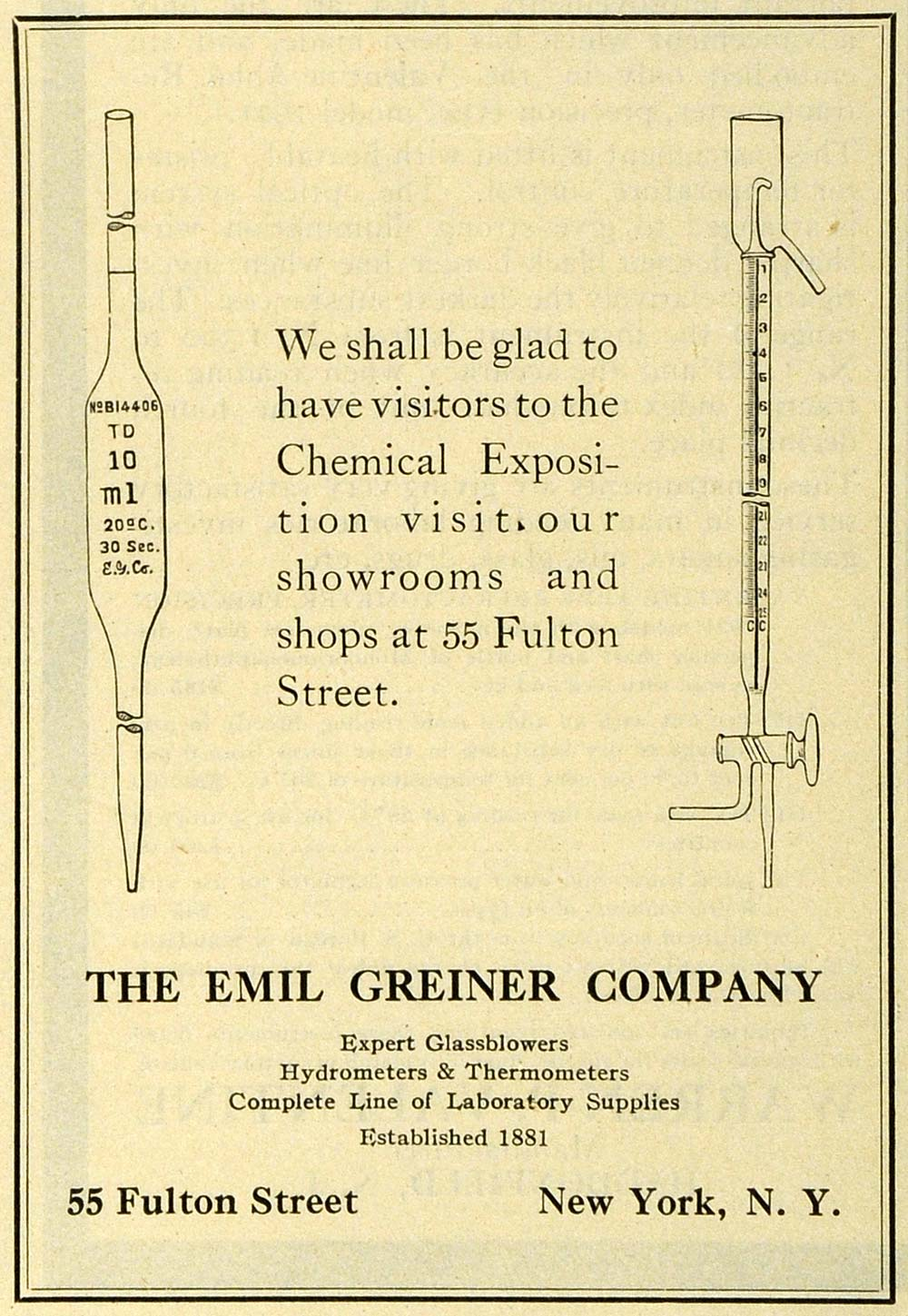 1922 Ad Emil Greiner Thermometer Glass Chemical Engineering Science IEC1