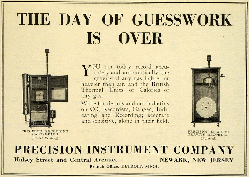 1922 Ad Precision Instruments British Thermal Units Gravity Recorder IEC1
