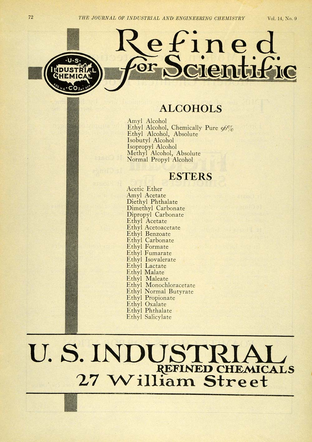 Absolute ethyl alcohol bottle vintage chemical bottle science lab - 1922 Ad Refined Chemicals U S Industrial Chemistry Scientific Materials Iec1