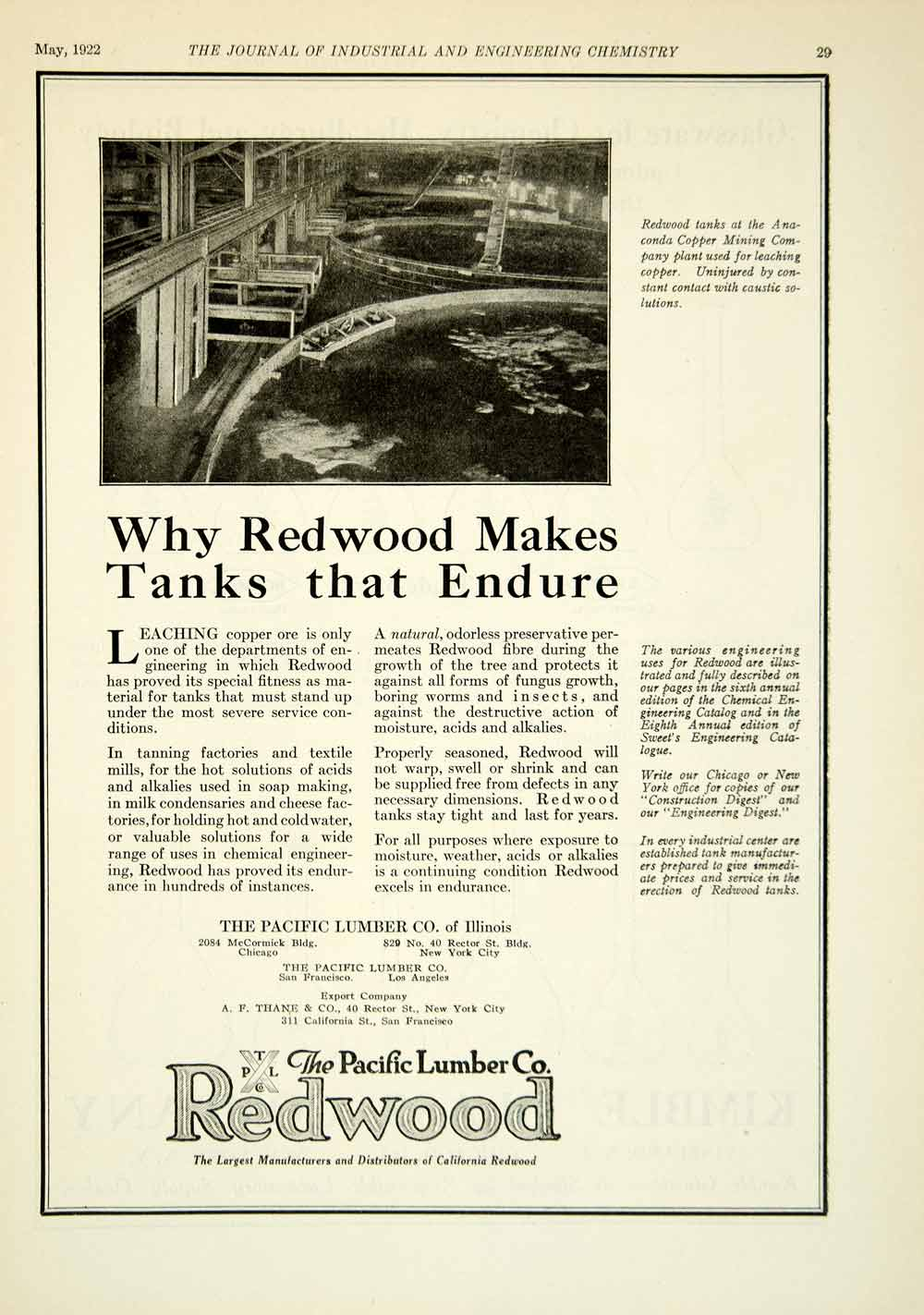 1922 Ad Pacific Lumber California Redwood Trees Anaconda Copper Mine IEC2
