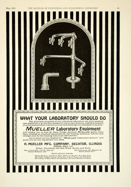 1922 Ad H Mueller Water Spout Plumbing Science Laboratory 145 W 30th St NYC  IEC2