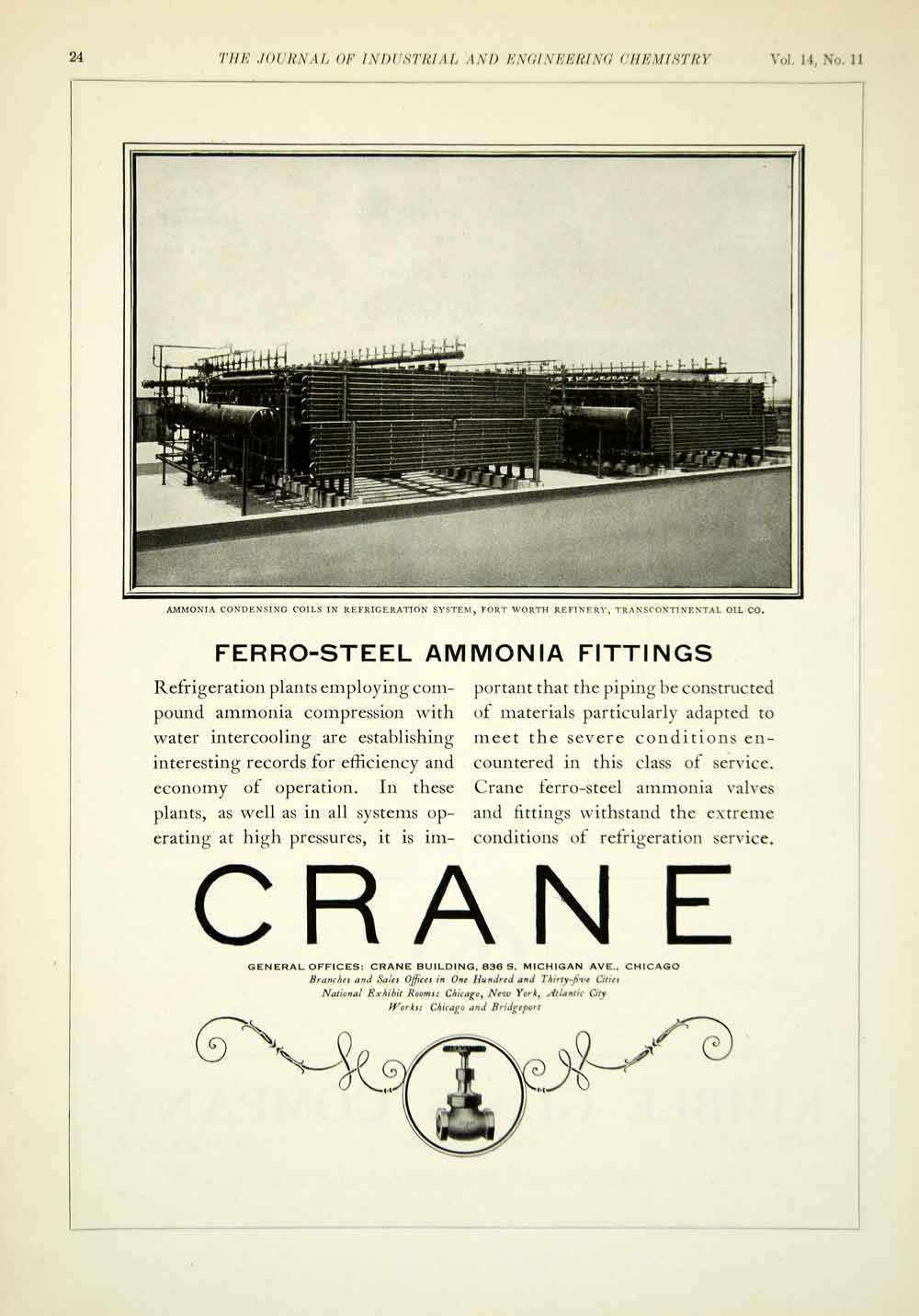 1922 Ad Crane Ferro-Steel Ammonia Fittings Ft Worth Oil Refinery Industrial IEC2