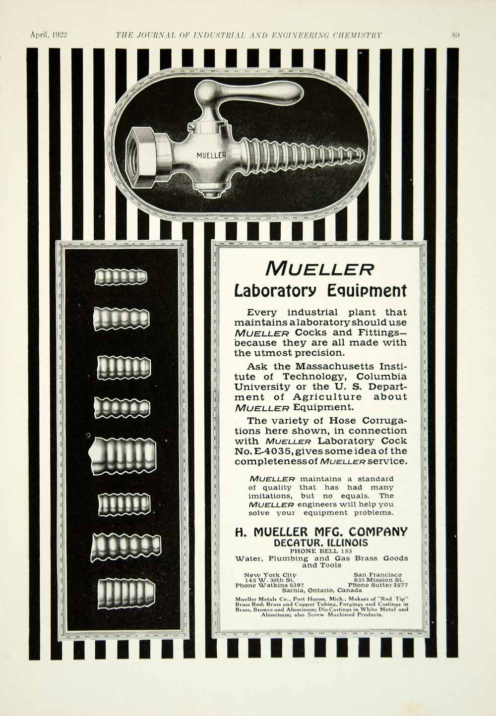 1922 Ad H Mueller Stopcock Pipe Fitting Plumbing Science Laboratory IEC2