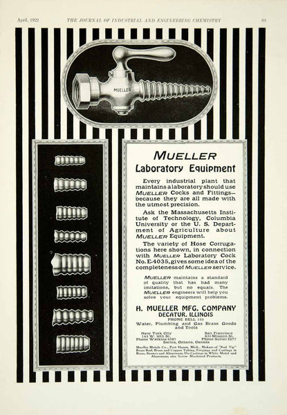 1922 Ad H Mueller Stopcock Pipe Fitting Plumbing Science