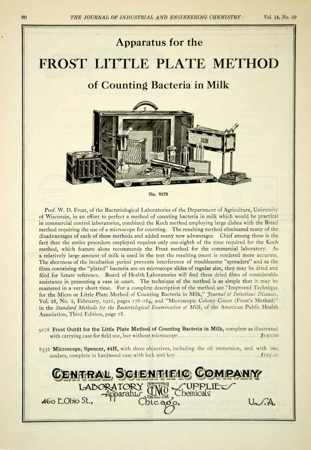 1922 Ad Central Scientific Frost Little Plate Outfit Microscope Lab IEC2