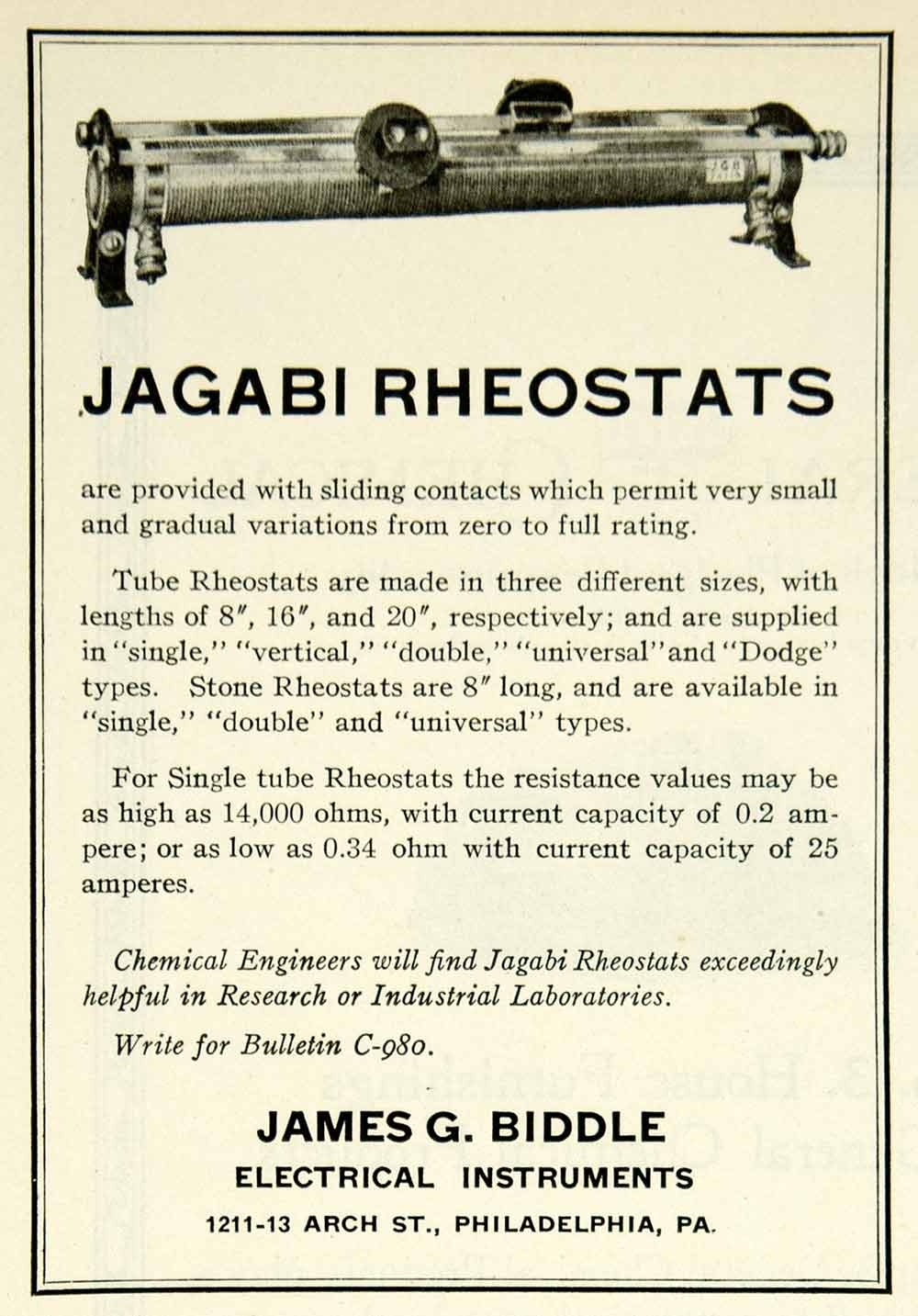 1922 Ad James G Biddle Electrical Instruments Jagabi Tube Rheostats Science IEC2