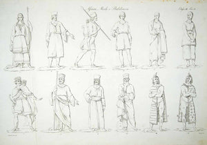 1833 Copper Engraving Eugenio Bosa Art Assyrian Babylonian Median Costume ILC1