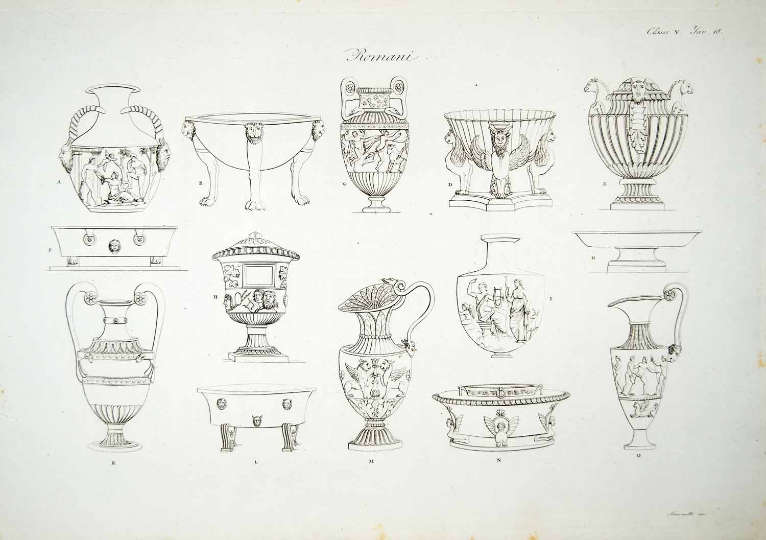 1833 Copper Engraving Art Ancient Roman Vase Archaeology Rome Pot Jar Basin ILC1