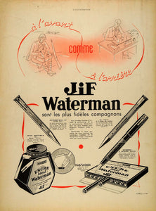 1940 French WWII Ad Jif Waterman Pens Ink Lithograph - ORIGINAL ADVERTISING ILL1