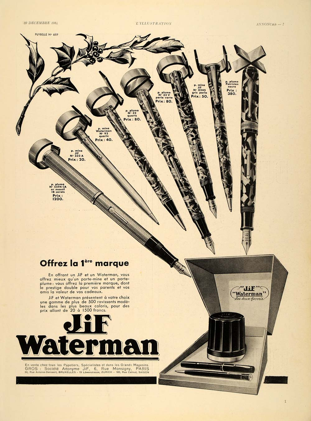 1934 French Ad Jif Waterman Fountain Pens Christmas - ORIGINAL ADVERTISING ILL1