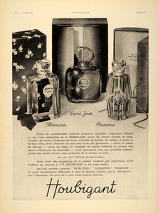 1937 French Ad Houbigant Parfums Perfumes Bottles Boxes - ORIGINAL ILL1