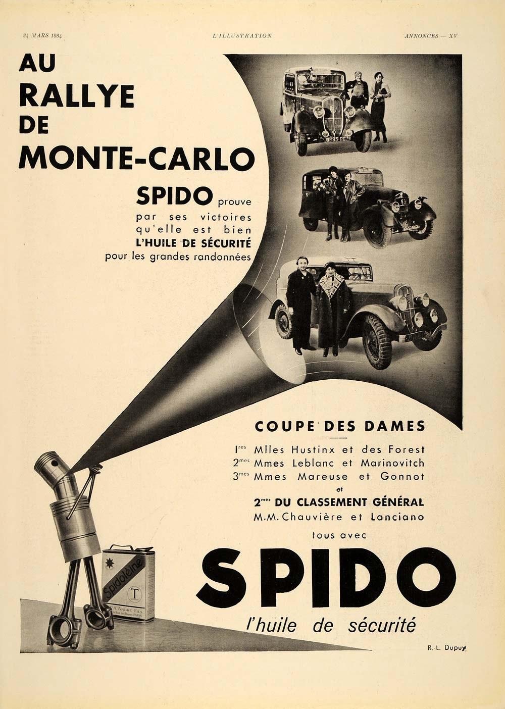 1934 French Ad SPIDO Oil Huile Rallye du Monte Carlo - ORIGINAL ADVERTISING ILL1
