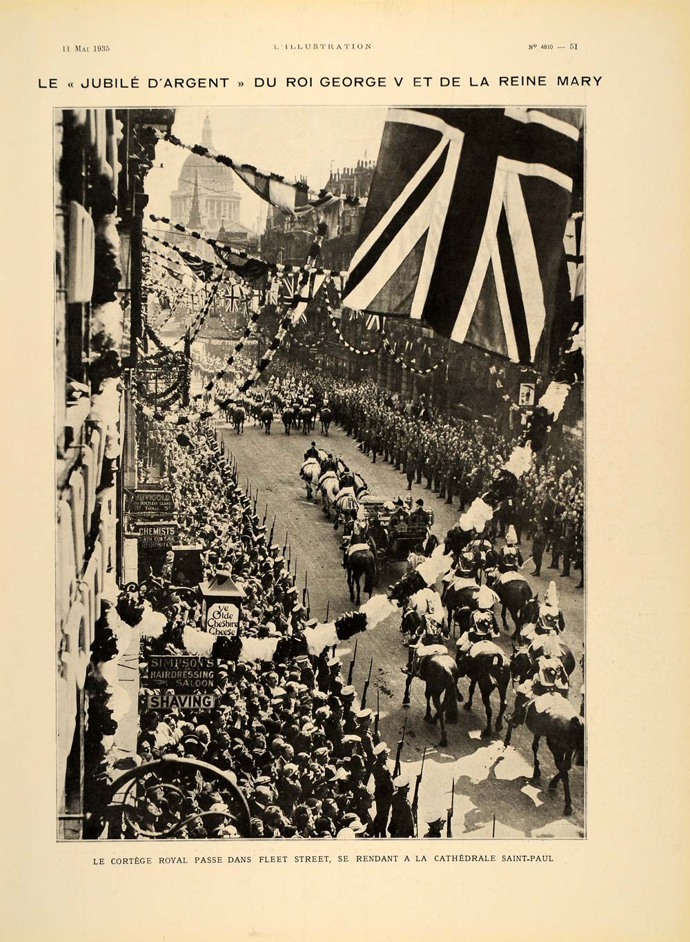 1935 George V Silver Jubilee Procession Fleet St. Print ORIGINAL HISTORIC ILL2