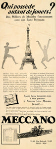 1929 Ad French Meccano Models Eiffel Children Build - ORIGINAL ADVERTISING ILL3