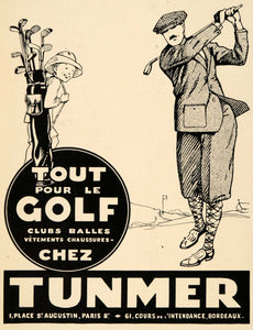 1928 Ad French Tunmer Sporting Goods Golf Clubs Deco - ORIGINAL ADVERTISING ILL3