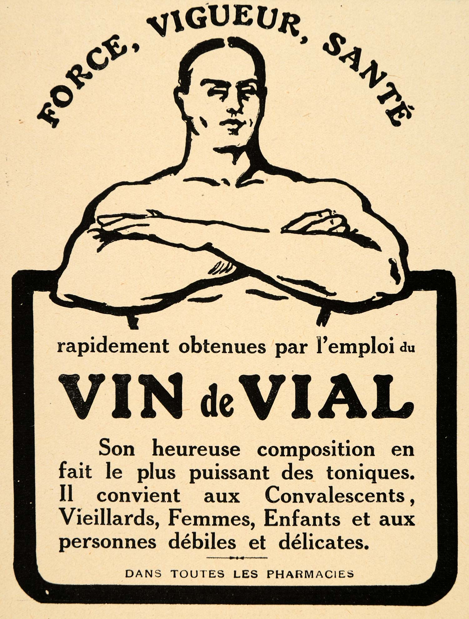 1920 Ad French Tonic Vin Vial Strong Energy Health Deco - ORIGINAL ILL3