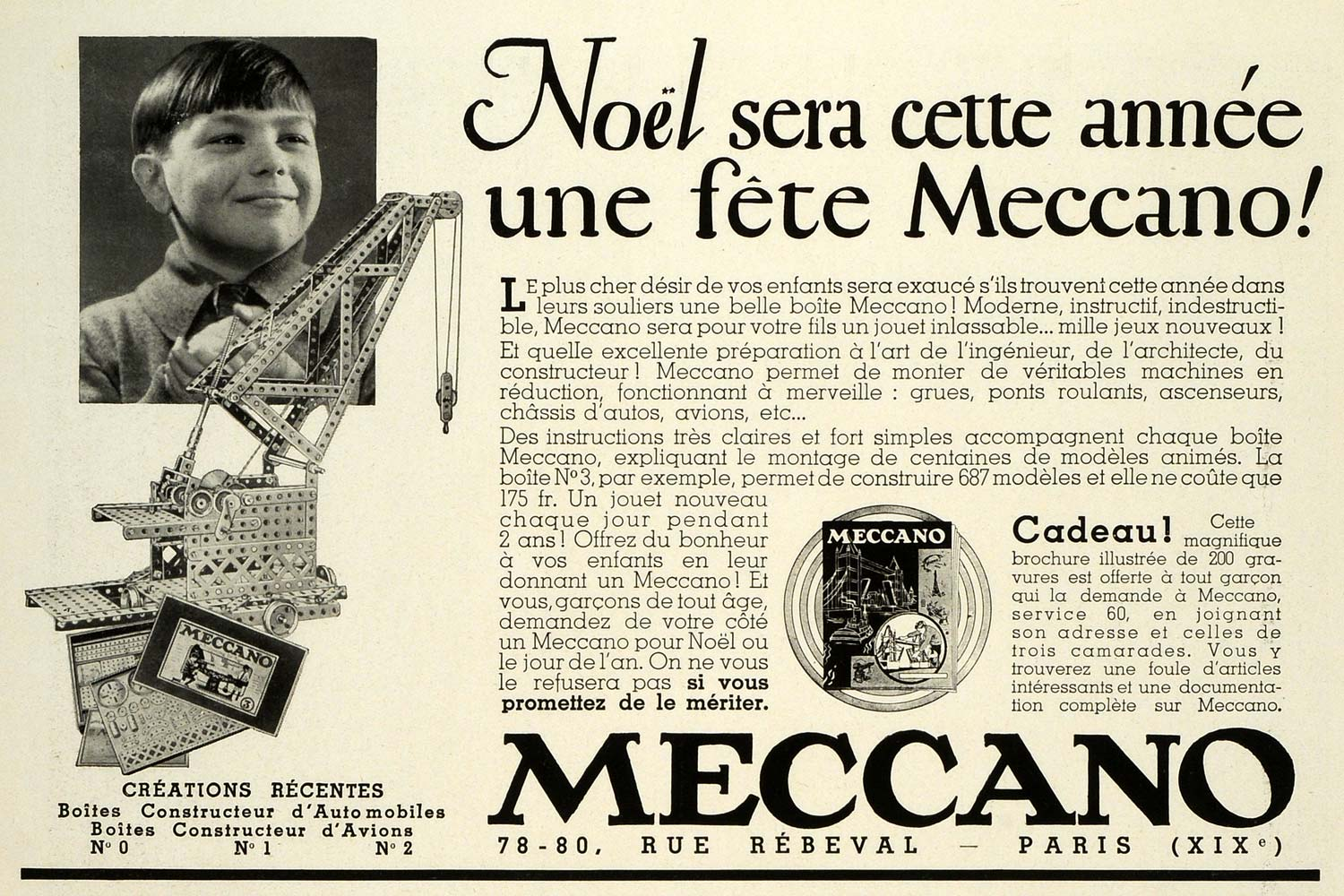 1932 Ad Meccano Children's Christmas Building Toys Paris France Gifts Crane ILL5